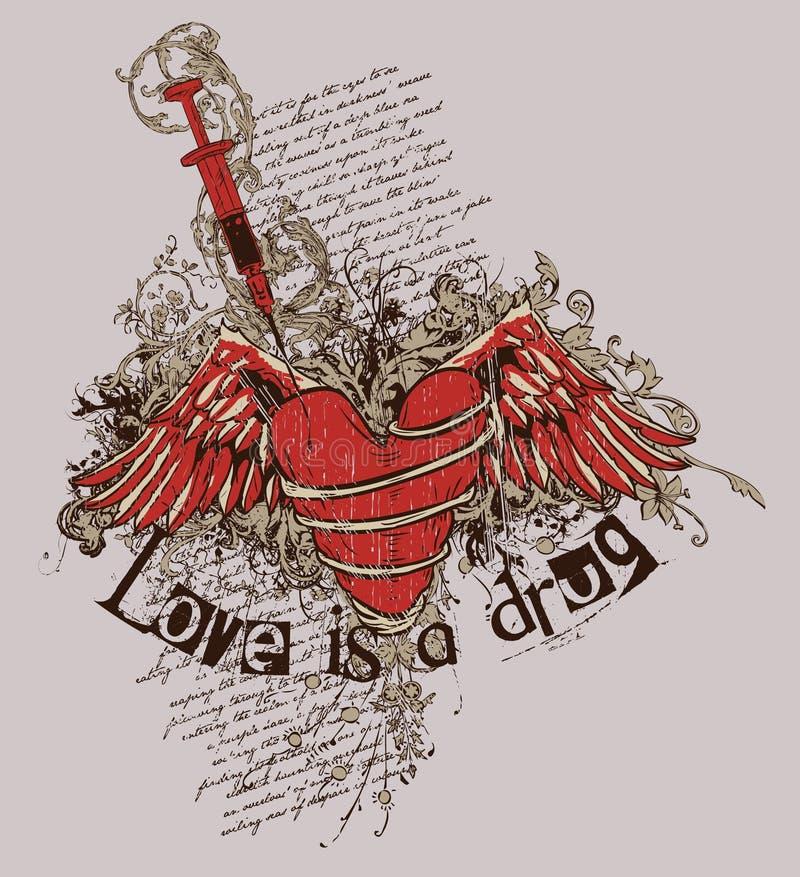 O amor é uma droga ilustração stock