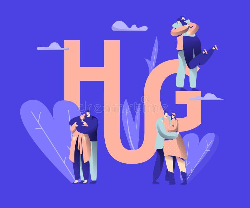 O amor acopla o caráter que data a bandeira da tipografia do abraço Guy Romance Relationship feliz com amiga Homem da mulher româ ilustração stock