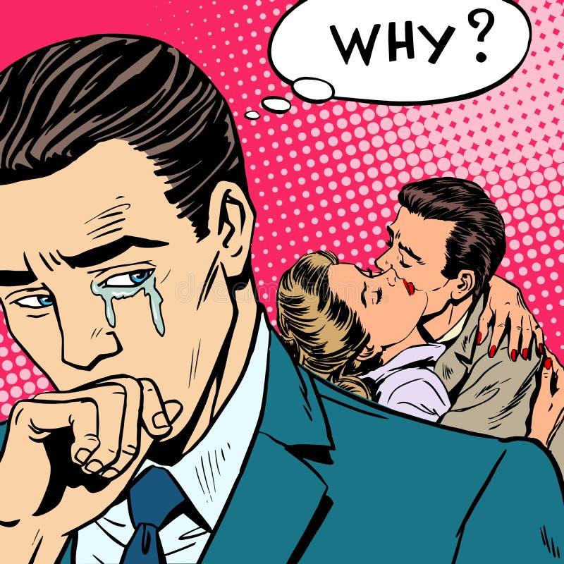 O amor de engano um homem chora sua esposa com seu amante ilustração stock