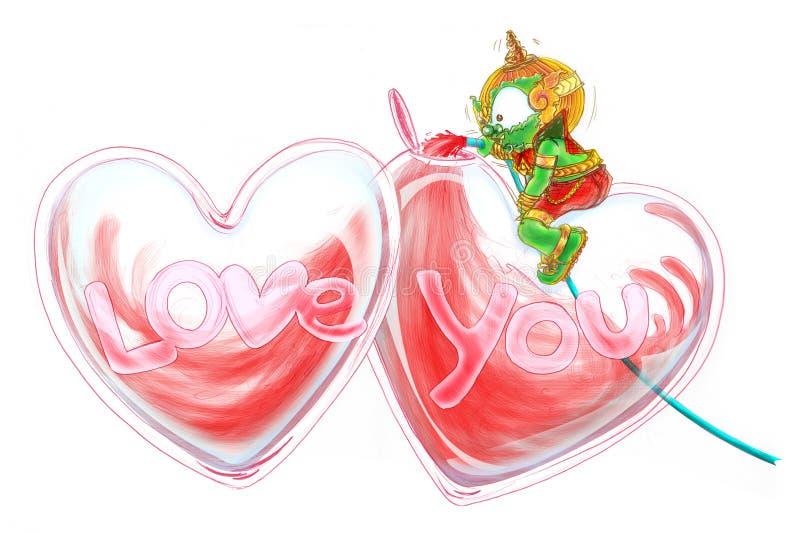 O amor de Siam Gumphant Thai Giant Cartoon enche o coração ilustração stock
