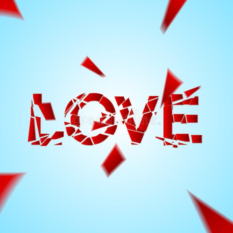 O amor deixado de funcionar, exprime quebrado ilustração stock