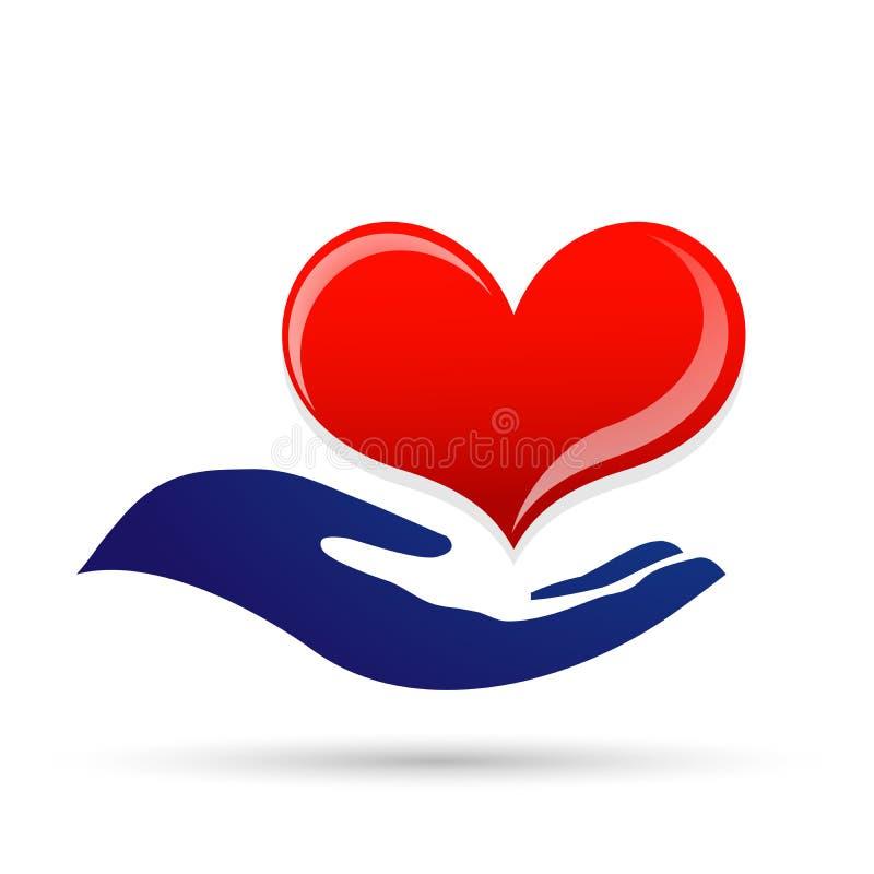 O amor do cuidado do coração para proteger a mão de salvaguarda da piedade que ciao povos ama o logotipo do vetor do elemento do  ilustração stock