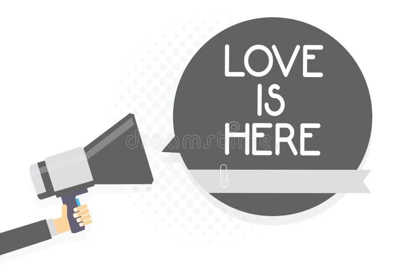 O amor do texto da escrita da palavra está aqui Conceito do negócio para o cuidado positivo Joy Man da expressão da emoção bonita foto de stock royalty free