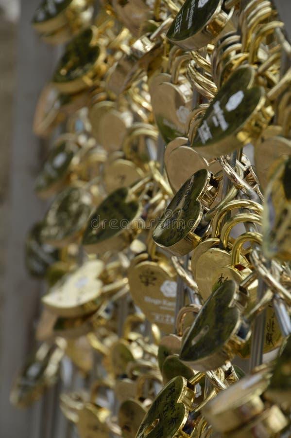 O amor dourado trava em seguido imagem de stock