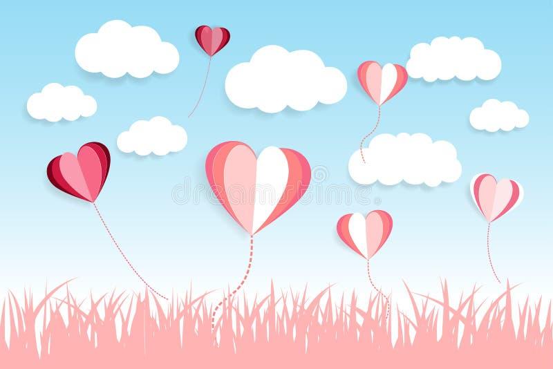 O amor e o corte do papel da nuvem efetuam o fundo do lanscape da vista Ballons do amor Dia feliz do Valentim ilustração royalty free