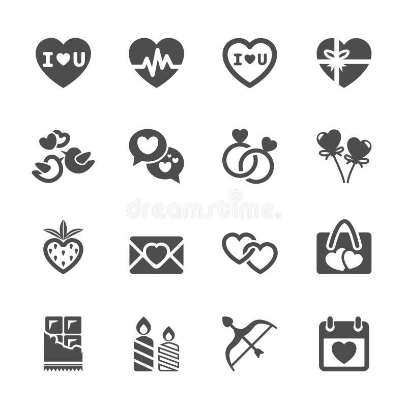 O amor e o ícone do Valentim ajustaram 2, vetor eps10 ilustração stock
