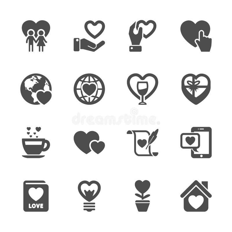 O amor e o ícone do Valentim ajustaram 3, vetor eps10 ilustração royalty free