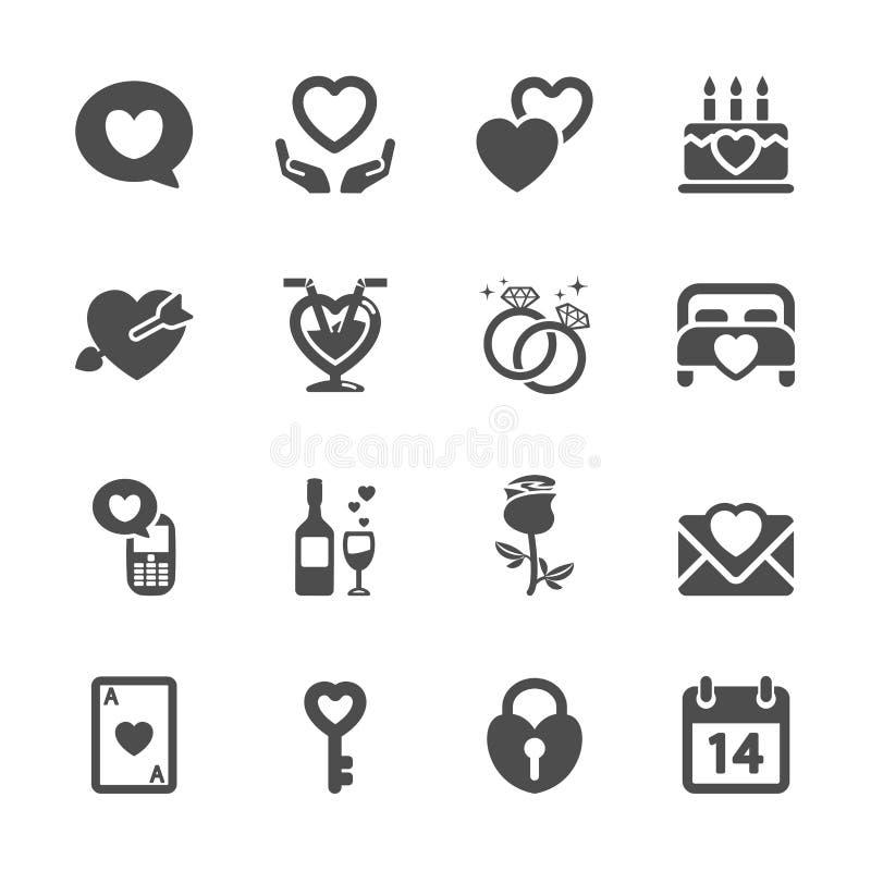O amor e o ícone do Valentim ajustaram 4, vetor eps10 ilustração do vetor