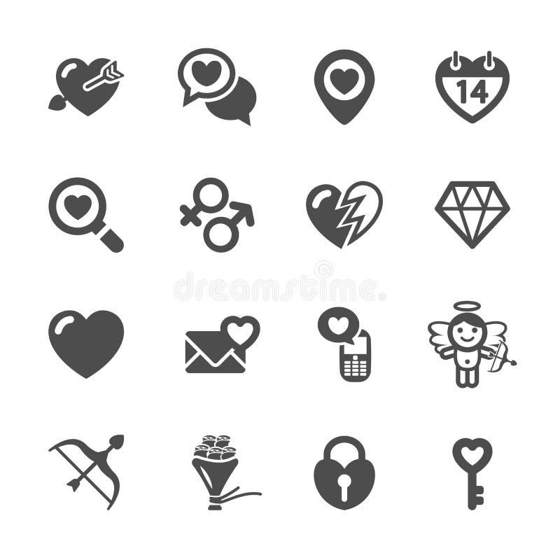 O amor e o ícone do Valentim ajustaram 7, vetor eps10 ilustração stock