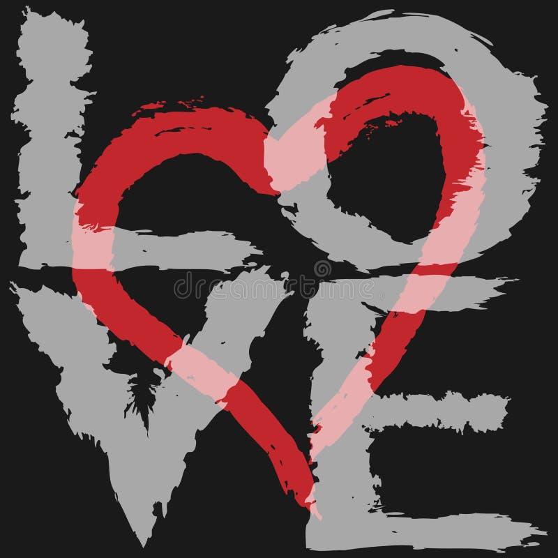 O amor e o coração verticais do texto mostram em silhueta tirado de uma escova áspera ilustração royalty free