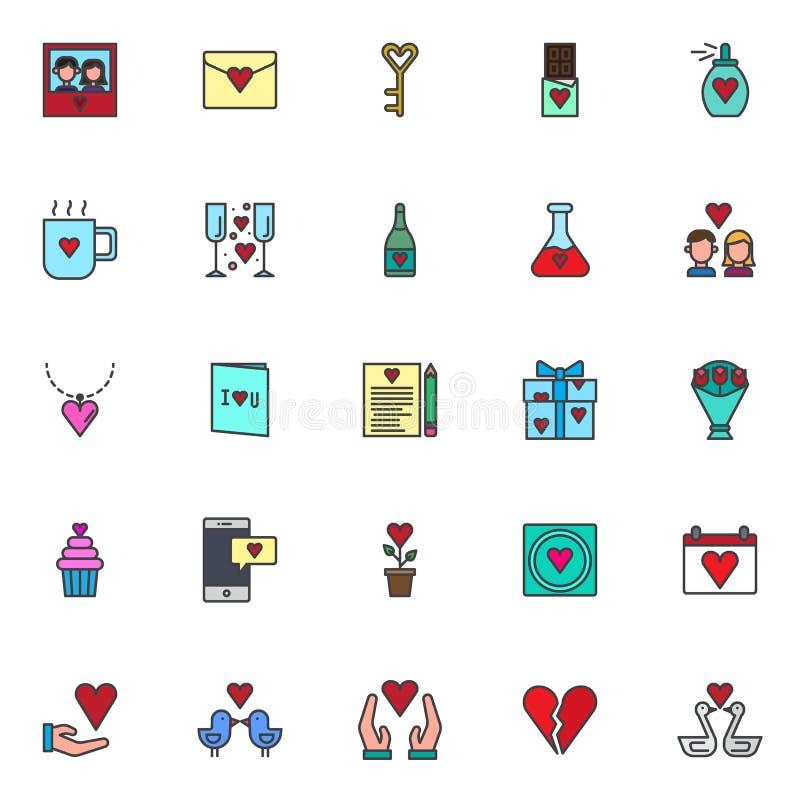 O amor encheu os ícones do esboço ajustados ilustração do vetor