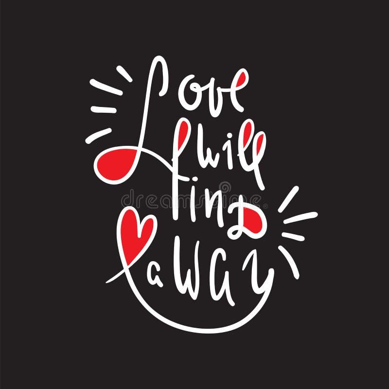 O amor encontrará uma maneira - inspire e citações inspiradores Rotulação bonita tirada mão ilustração royalty free