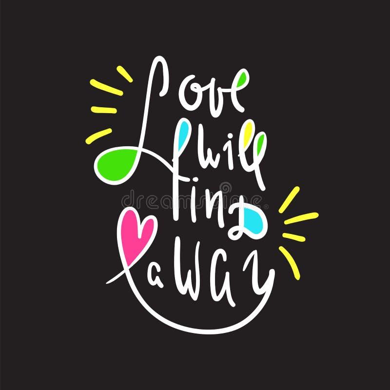 O amor encontrará uma maneira - inspire e citações inspiradores Rotulação bonita tirada mão Cópia para o cartaz inspirado, t-shir ilustração stock