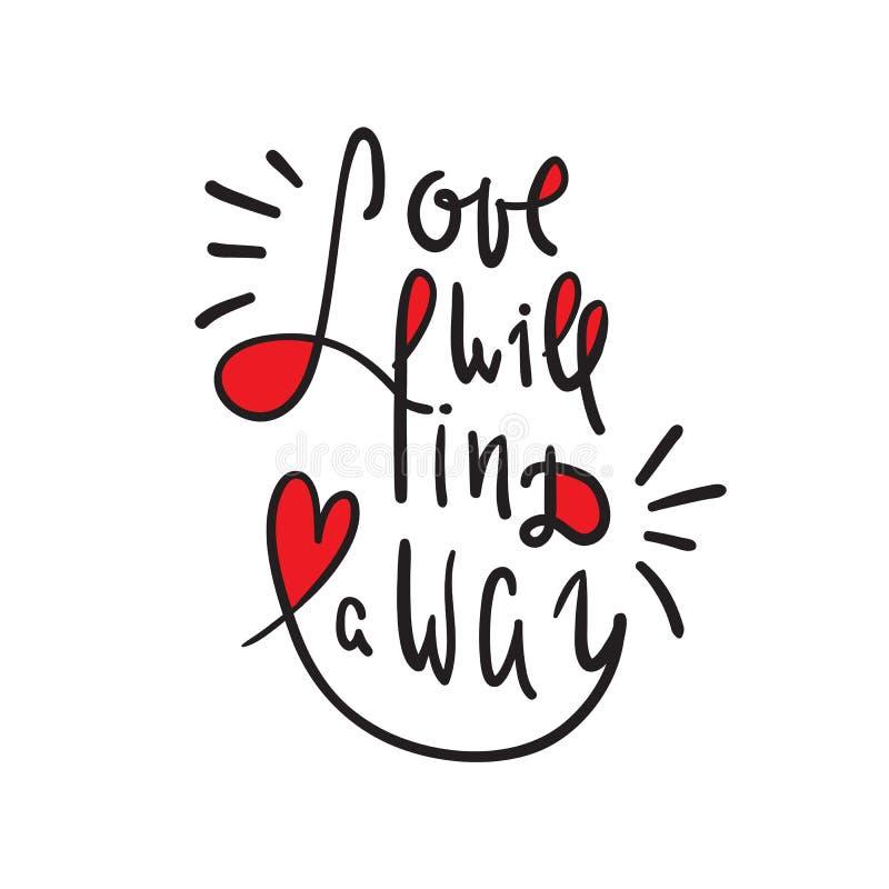 O amor encontrará uma maneira - inspire e citações inspiradores Rotulação bonita tirada mão Imprima para o cartaz inspirado, t-sh ilustração royalty free
