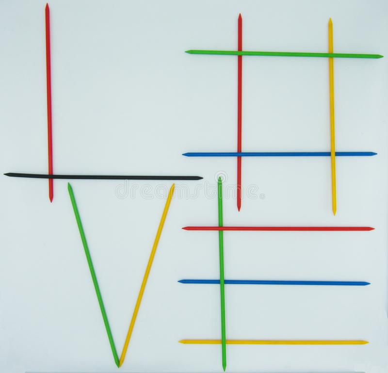 O amor escrito por varas do shangai, conceito da palavra do positiveness ilustração royalty free