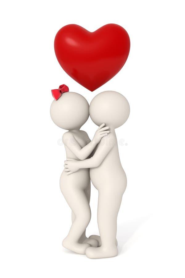 O amor está no ar - par 3d ilustração stock