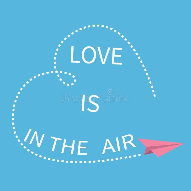 O amor está no texto da rotulação do ar Plano de papel do origâmi do voo Linha de coração tracejada cartão feliz Typograp do dia  ilustração stock