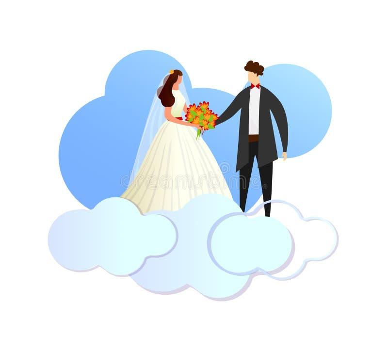O amor feliz do recém-casado acopla estar em nuvens ilustração do vetor
