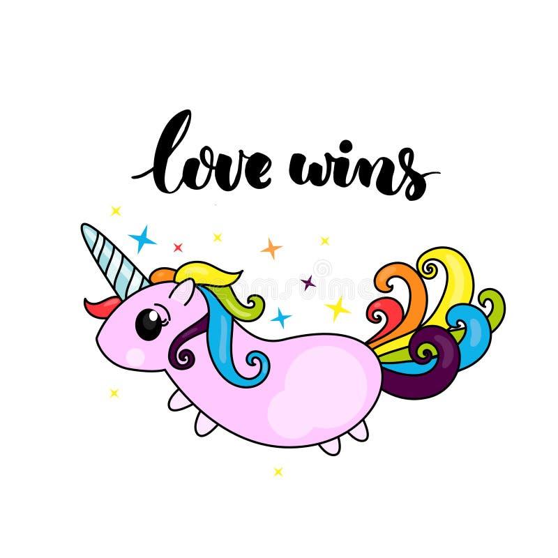 O amor ganha - o slogan do orgulho do lgbt e o caráter bonito do unicórnio com cabelo do arco-íris ilustração royalty free