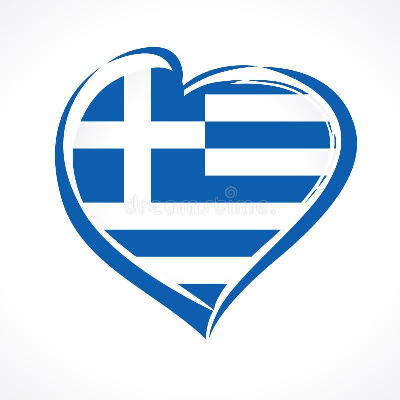 O amor Grécia, bandeira nacional do emblema do coração coloriu ilustração royalty free