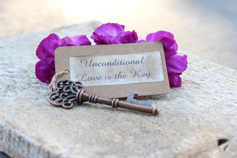 O amor incondicional é a chave com flores roxas imagem de stock