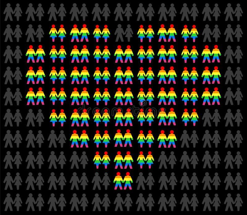 O amor lésbica alegre acopla o arco-íris do fundo colorido ilustração stock