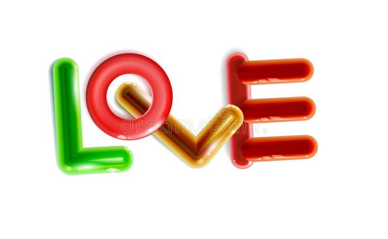 O amor lustroso da inscrição do sumário, brinquedos plásticos multicoloridos arredondou-se Alargamentos do brinquedo coloridos pa ilustração stock