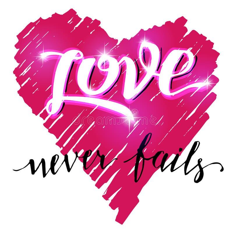 O amor nunca falha a caligrafia da escova ilustração do vetor