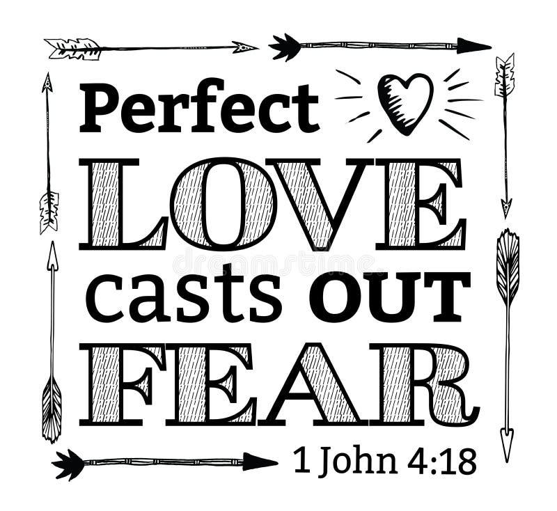 O amor perfeito molda para fora o emblema do medo ilustração royalty free