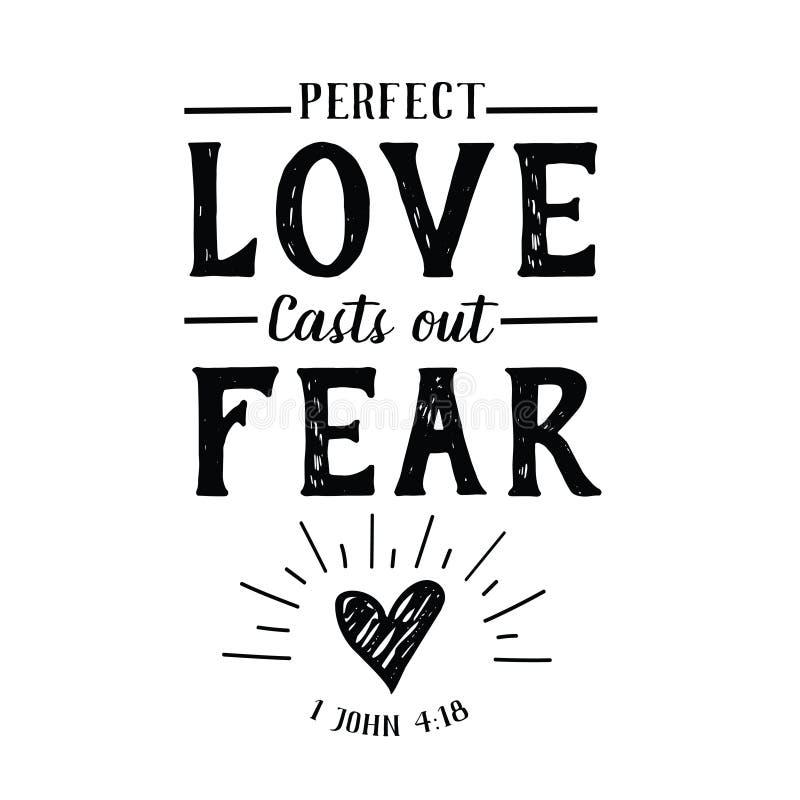 O amor perfeito molda para fora o emblema do medo ilustração stock