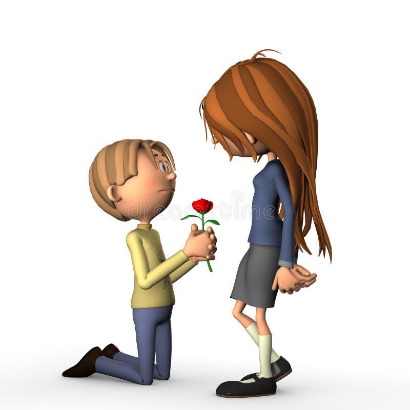 O amor romântico da proposta aumentou ilustração stock