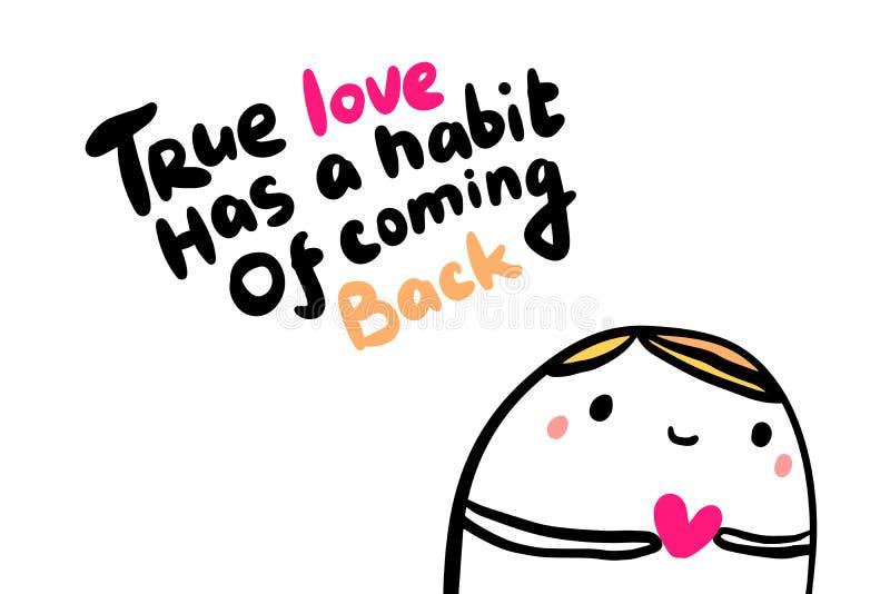 O amor verdadeiro tem um hábito da ilustração tirada mão de volta no estilo dos desenhos animados Homem com símbolo do coração le ilustração royalty free