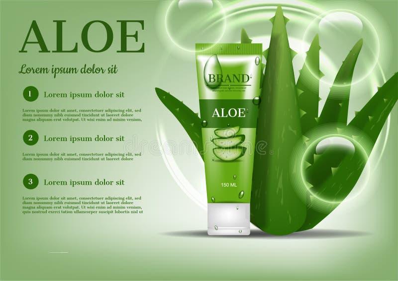O anúncio cosmético, espuma com a árvore e as bolhas de vera do aloés no fundo verde ilustração do vetor