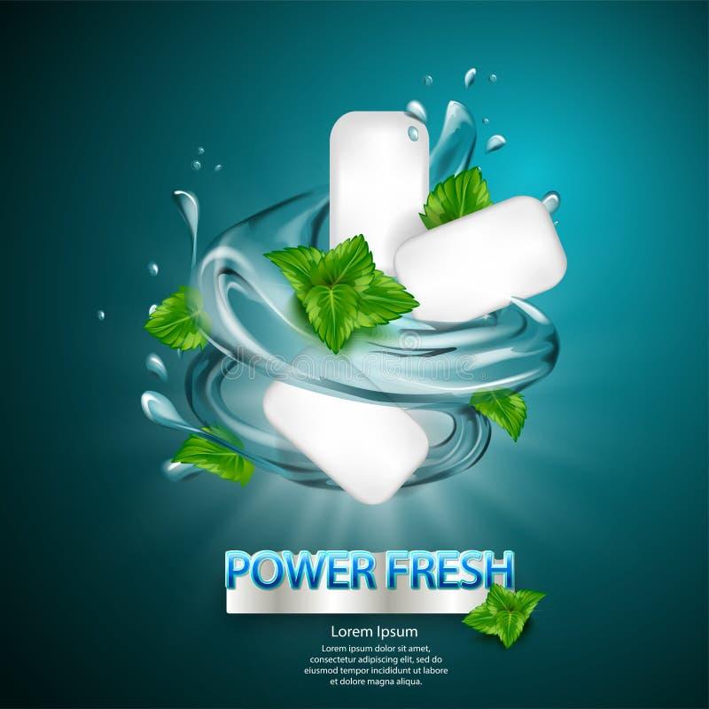 O anúncio da goma do sabor da hortelã com folha e a água espirram o elemento, na luz - fundo azul, a ilustração 3d ilustração stock