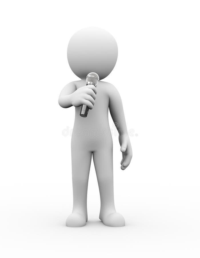 o anúncio do microfone do homem 3d fala ilustração do vetor