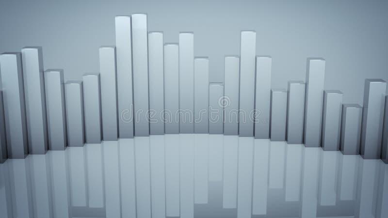 O analisador de espectro audio da onda com reflexão 3D rende ilustração stock