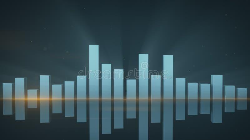 O analisador de espectro com reflexão 3D rende ilustração royalty free