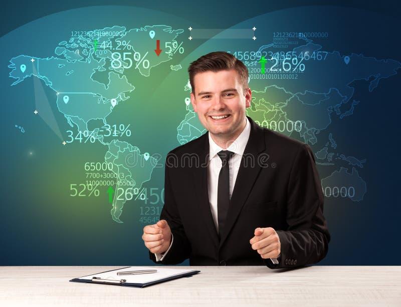 O analista de comércio do mercado é notícia de troca do mundo do relatório do estúdio com imagens de stock