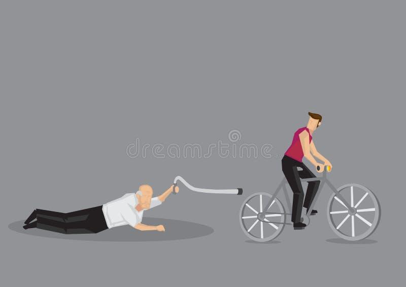 O ancião caiu na ilustração do vetor dos desenhos animados da estrada do ciclista ilustração stock