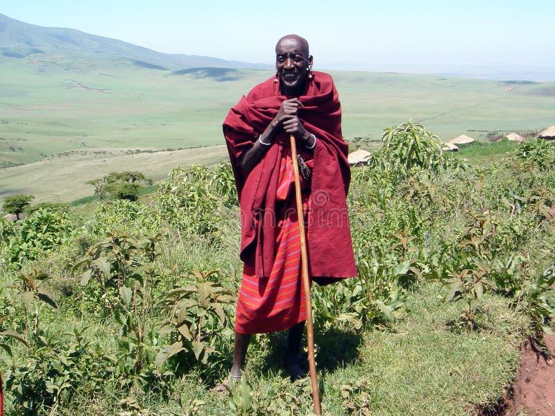 O ancião do Masai do tribo fotografia de stock royalty free