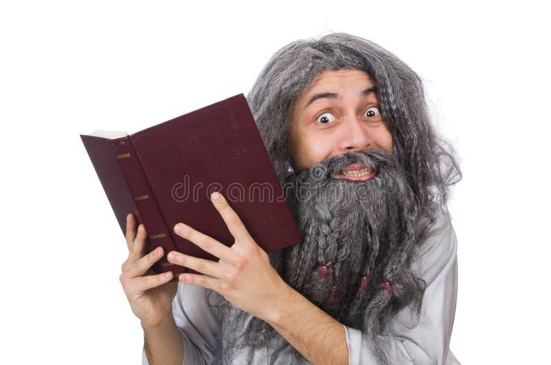 O ancião engraçado isolado no branco imagem de stock