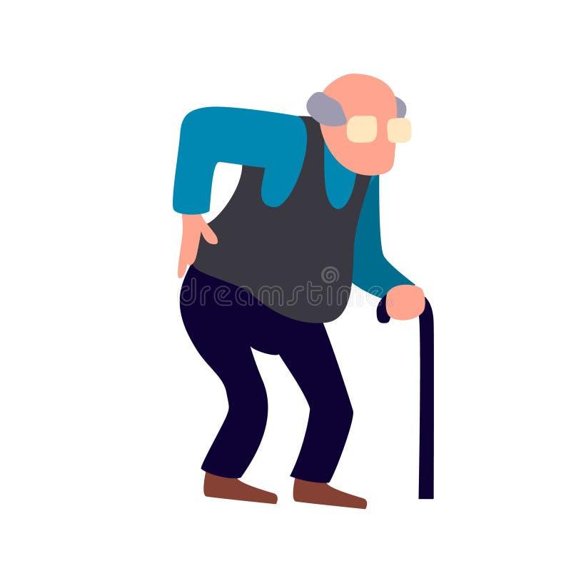 O ancião está tendo a dor nas costas Problema de saúde superior de ferimento Mau feelling do homem idoso após ferimento ilustração royalty free