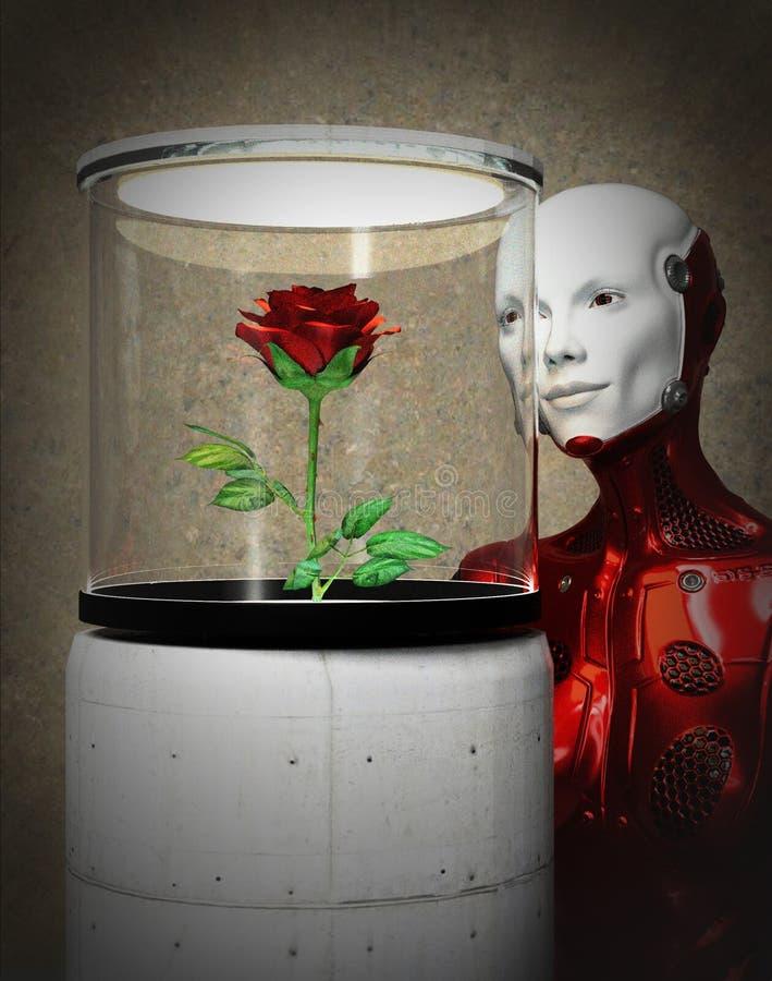 O androide curioso olha aumentou no museu fotos de stock