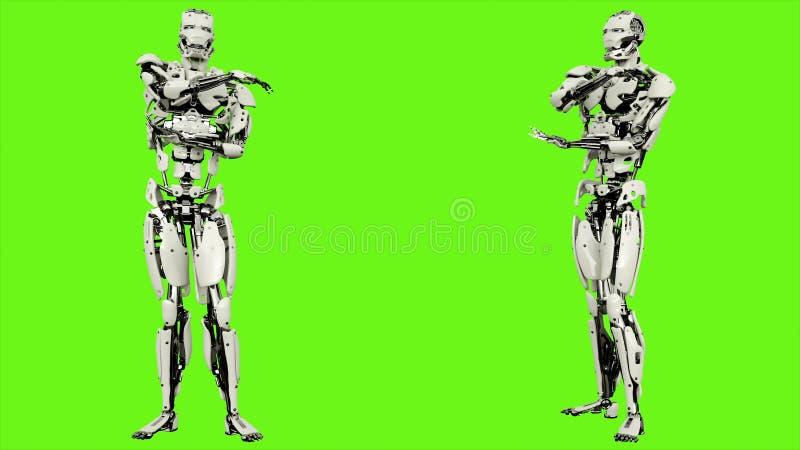O androide do robô é esticão do braço Movimento dado laços realístico no fundo de tela verde rendição 3d ilustração royalty free