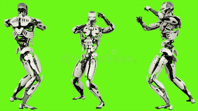 O androide do robô é mostras suas habilidades de combate Movimento realístico na tela verde rendição 3d ilustração stock