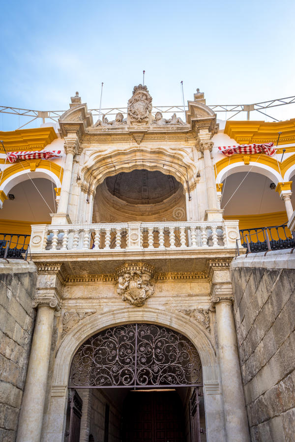 O anel da luta de touro em Sevilha, Espanha, Europa fotos de stock royalty free