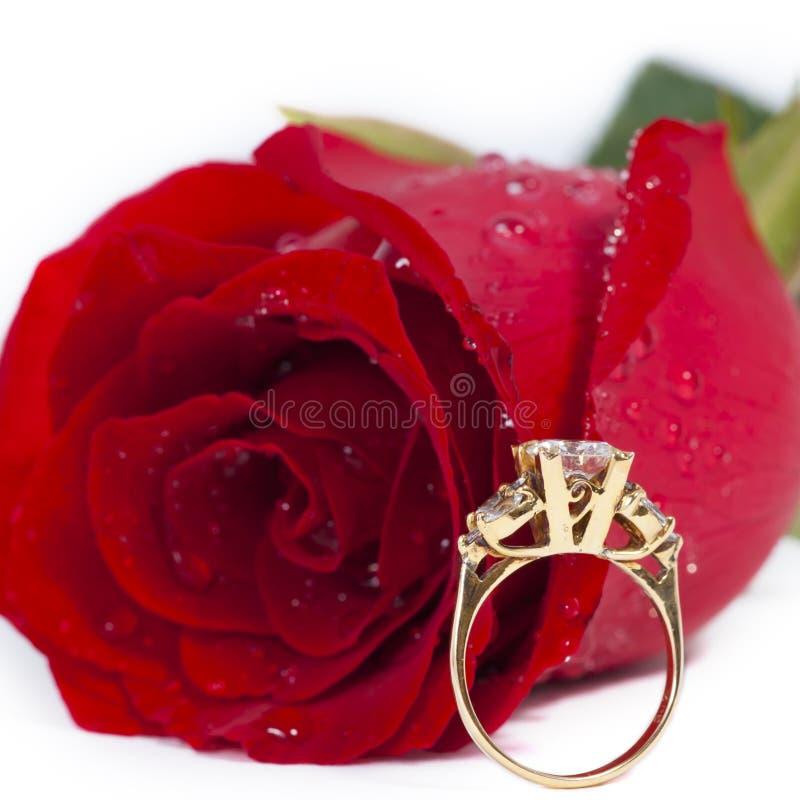 O anel de diamante dourado e levantou-se fotos de stock