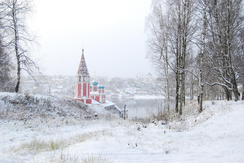 O anel dourado de Rússia Oblast Tutaev de Yaroslavl Igreja de Kazan da transfiguração foto de stock