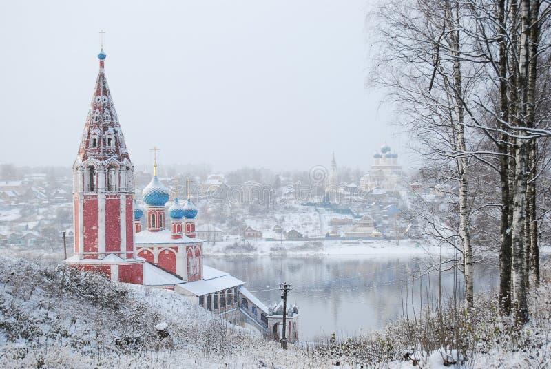O anel dourado de Rússia Oblast Tutaev de Yaroslavl Igreja de Kazan da transfiguração fotografia de stock