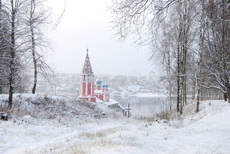 O anel dourado de Rússia Oblast Tutaev de Yaroslavl Igreja de Kazan da transfiguração imagem de stock royalty free
